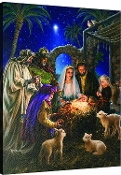 Away In A Manger Nativity Scene Lighted Artwork
