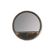 "14.75"" Inch Round Distressed Black Metal Wall Mirror"