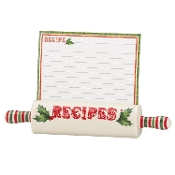 Home for The Holidays Recipe Holder with 10 Cards, Ivory