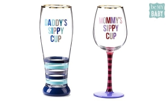 Be My Baby, Wine Or Beer Glass Adult Sippy Cup