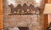 "35"" Galloping Horses Metal Laser Cut Wall Decoration"