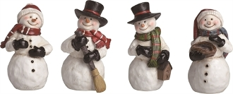 Cute Snowman Figurines, Set of Four