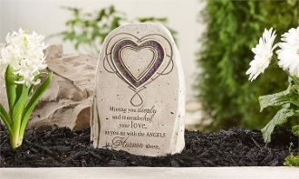 Mosaic Glass Heart Memorial Garden Stone