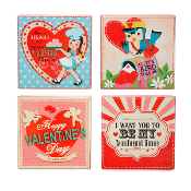 Retro Valentine Table Block Decorations, 4 Different Designs