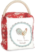 Live Simply - Live, Laugh, Love Hen Red Floral Door Stopper