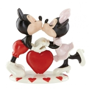 Ivory Fine China Mickey Loves Minnie Figurine with Gold Accents