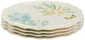 Lenox Butterfly Meadow Melamine Dinner Plates (Set of 4), White