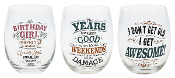 Over The Hill Humor, Stemless Wine Glasses, Set of Three
