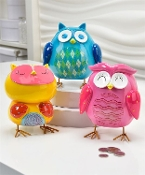 Colorful Owl Design Money Banks, Three Different Designs