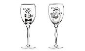 Mr. Right and Mrs. Always Right, Stemmed Wine Glass Set