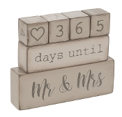 6 Piece Wooden Block Wedding Day Countdown Calendar