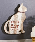 Cedar and Metal Cat Person Wall Plaque