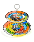 Romero Britto Glass 2-Tier Cake Plate