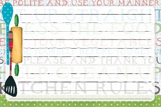 "Kitchen Rules Recipe Card By Susan Winget, 4"" x 6"""