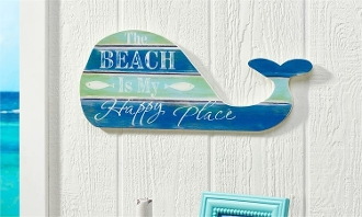 The Beach Is My Happy Place, Whale Shaped Novelty Sign