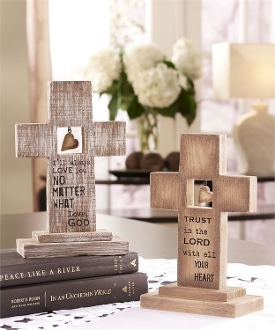 Cerdar Wooden Sentiment Cross, 2 Separate Designs