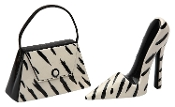 Zebra Print Purse and High Heel Salt and Pepper Set