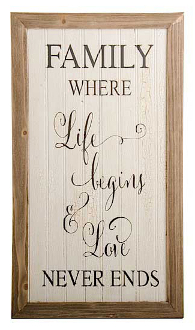Family, Where Life Begins & Love Never Ends, Novelty Sign