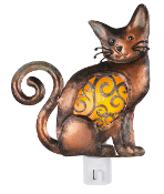 Artistic Iron and Glass Cat Night Light