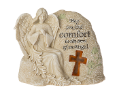 Memorial Angel Stone w/LED Light - May you find comfort