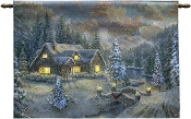High Country Christmas by Thomas Kinkade 36 X 26 Tapestry