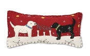 Rectangle Red Felt Pillow with Dogs