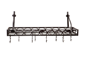 Old Dutch Bookshelf Pot Rack with 8 Hooks, Matte Black