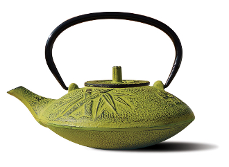 Moss Green Cast Iron Sakura Teapot