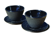 Cast Iron Cup/Saucer (Set of 2) - Matte Black