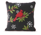 16 Inch Square Black Pillow w/Cardinal Embroidered