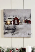 LED Lighted Barn Design Canvas Print