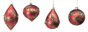 Red Christmas Ornament, 4 Piece Set