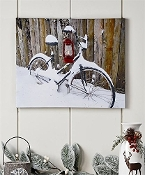 Snowy Bicycle Canvas Wall Art