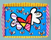 Romero Britto Flying Hearts Melamine Tray