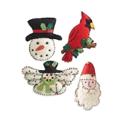 Assorted Felt Christmas Ornaments. Set of 4.