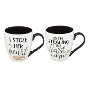 I Stole Her Heart and I'm Stealing His Last Name Coffee Cup Set