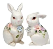 Bunny Couple with Flowers Salt and Pepper Shakers (Set of 2), Wh