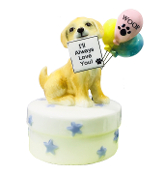 Golden Retriever and Happy Birthday Balloons Wind-Up Music Box