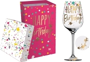 Happy Birthday Wine Glass With Box, 12 oz.