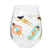 Stemless Acrylic Wine Glass Pool Time, Set of 2