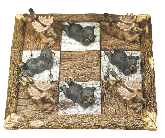 Black Bear and Moose Tic Tac Toe Set