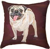"Pug Dog 18"" x 18"" Throw Pillow"