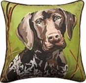 "German Shorthair Dog 18"" x 18"" Throw Pillow"