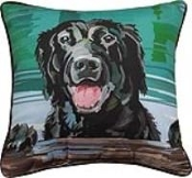 "Black Lab Dog 18"" x 18"" Throw Pillow"