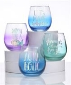 Giftcraft 16 oz. Stemless Wine Glasses, Set of 4
