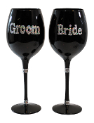 Ganz Bride and Groom Wine Glass Set