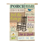 Porch Rules House Suede Flag