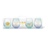 C.R. Gibson 12 Ounce Mermaids Stemless Wine Glasses, 4 Pack