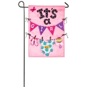 Evergreen It's A Girl Double-Sided Applique Garden Flag