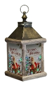 Winter Birch Santa Fiber Optic Large Lantern